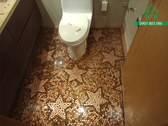 Sàn nhà tiền xu độc nhất vô nhị tại Việt Nam thực hiện bởi Xây Dựng HTD